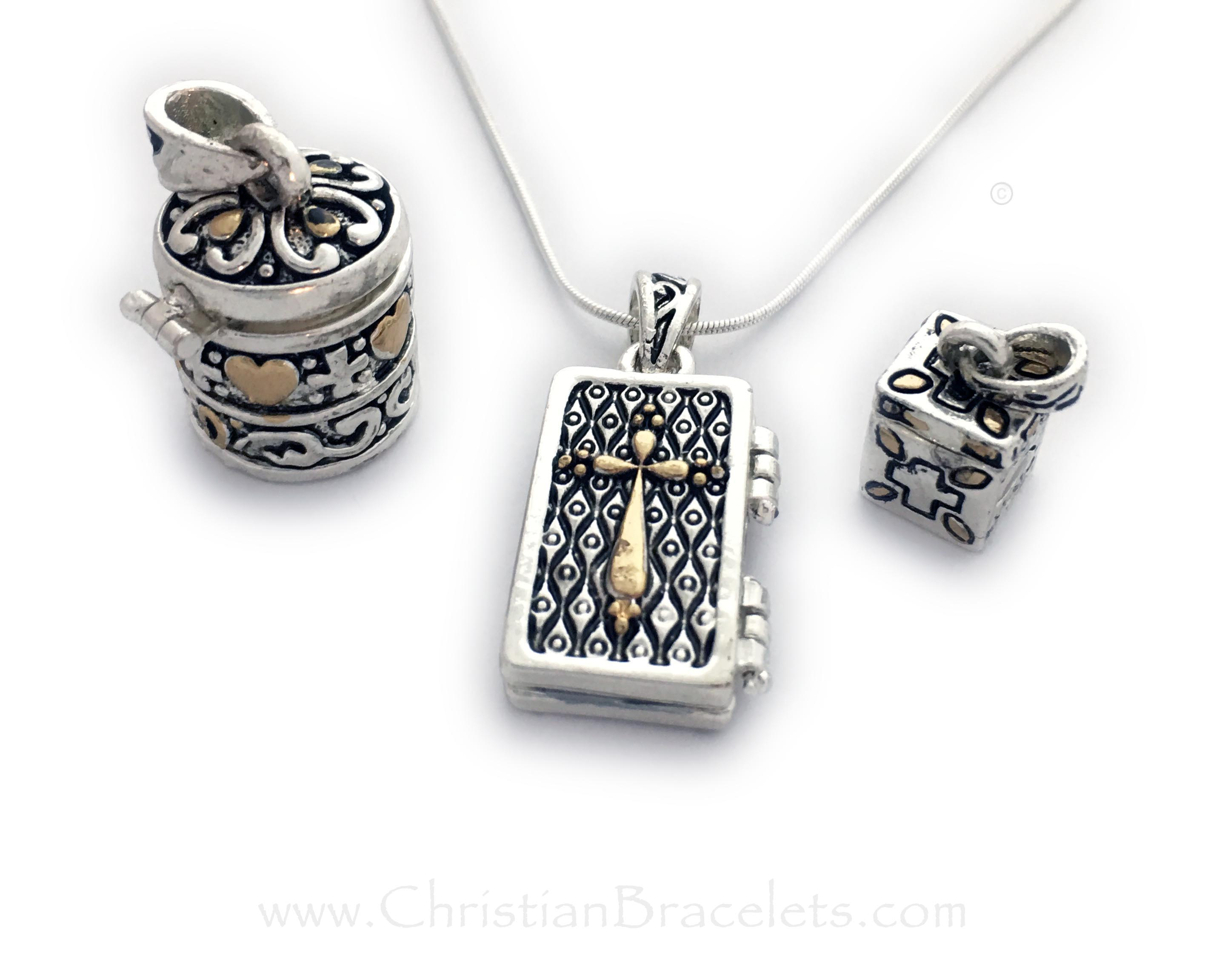 Prayer Box Necklaces - Round, Flat and Square - Pewter Prayer Box Charm Necklaces - Blessing Box Pendants